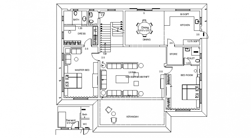 Drawings of house 2d view floor layout plan dwg autocad file