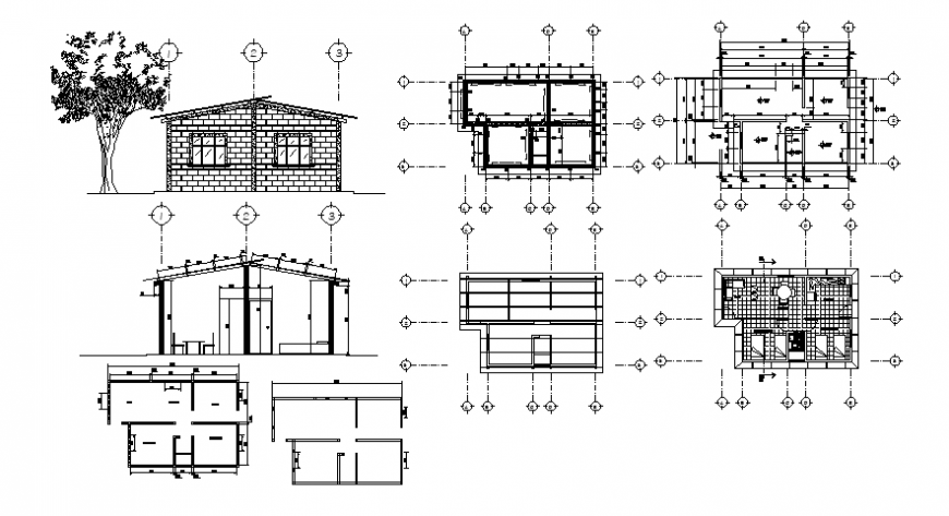 Drawings of house single story plan elevation and section autocad file