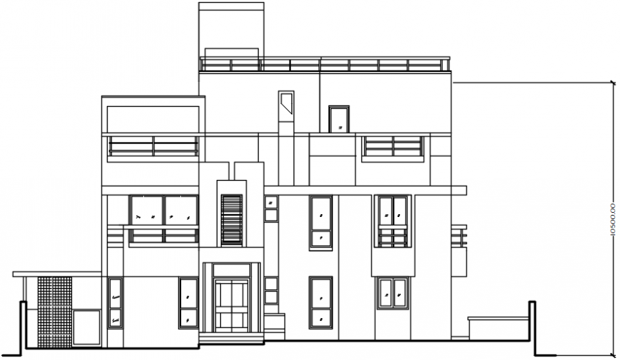 Drawings of housing apartment elevation 2d view dwg autocad file