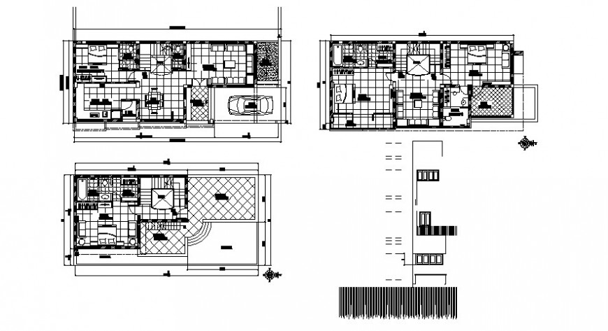 Drawings of housing bungalow 2d view layout plan AutoCAD software file