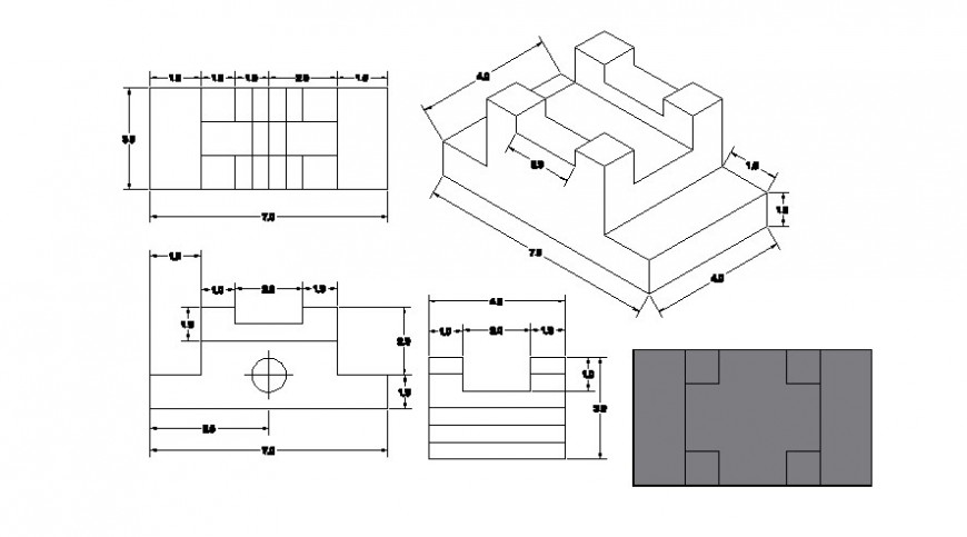 Drawings of machine units elevation autocad softwrae file