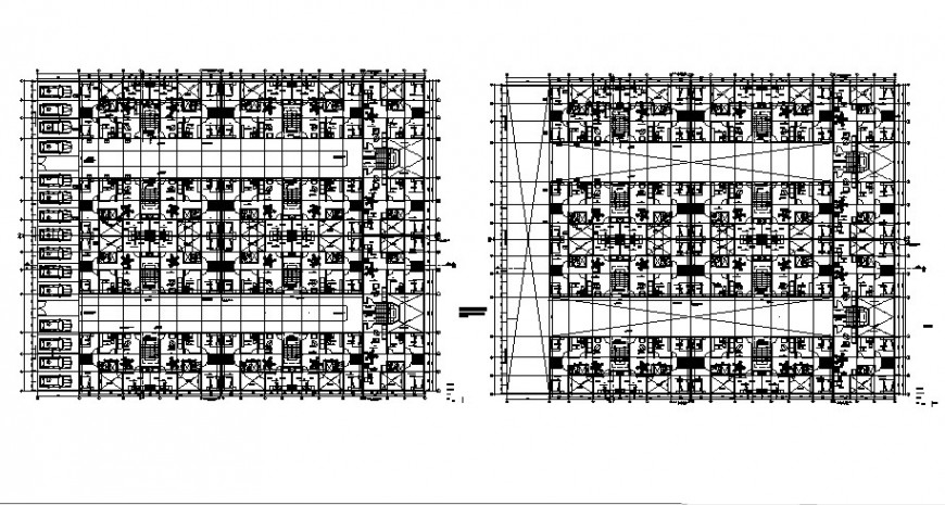 Drawings of Multi-family project 2d view floor plan autocad file