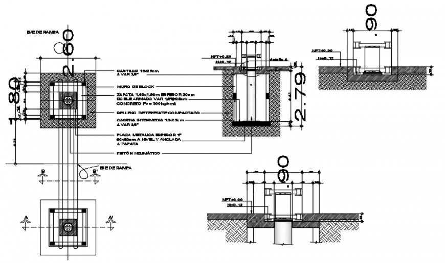 Drawings of pumping piston blocks plan and section dwg file