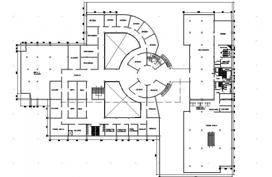 Drawings plan 2d view of building autocad software file