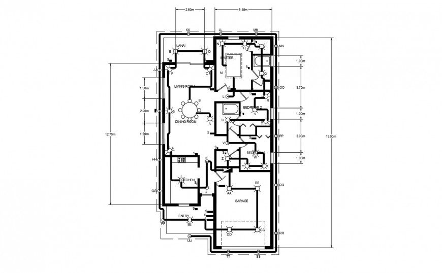 Walt Ampere And Electric Diagram Detail For House Dwg File