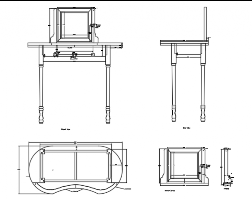 Dressing table and mirror design elevation