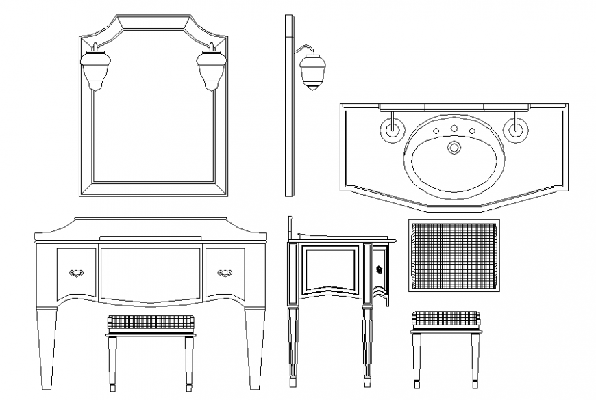 Dressing table and sink cub board plan detail dwg file