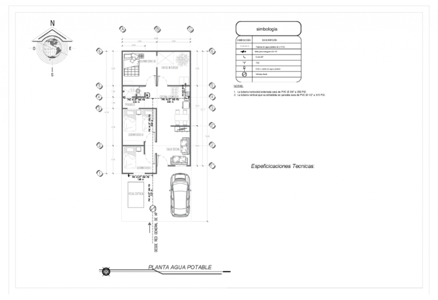 Drinking water line layout Plan design of progressive development House project