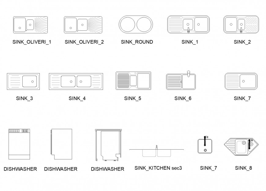 Drop in kitchen sinks and dishwasher plan layout file