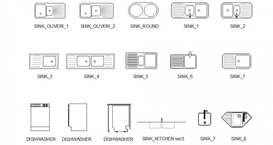 Drop in kitchen sinks dwg file