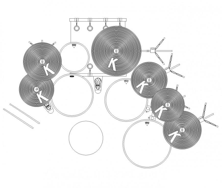 Drum kit plan view autocad file