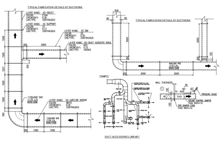 Duct accessory library autocad file detailed with 2d drawing