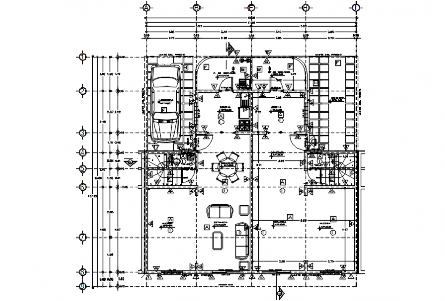 Duplex house distribution plan with furniture cad drawing details dwg file