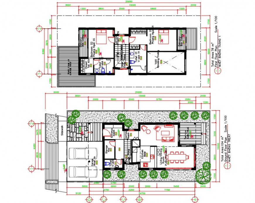 Duplex house ground and first floor distribution plan cad drawing details dwg file