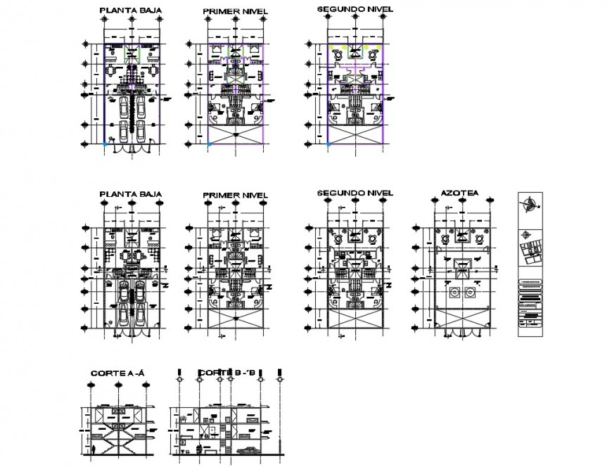 Duplex house section with ground, first and second floor plan details dwg file