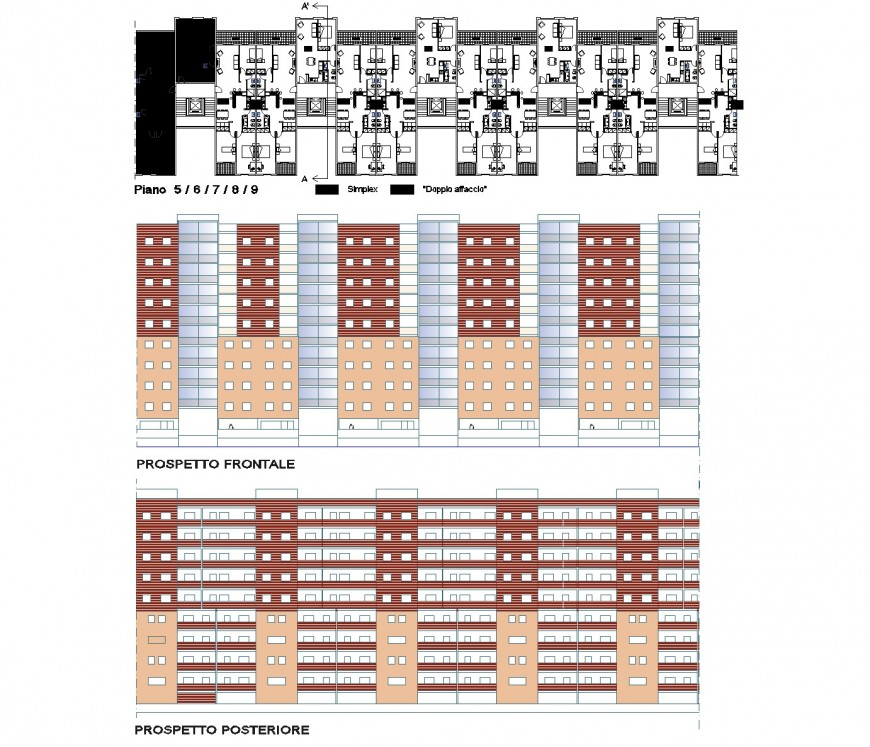 Duplex plan and elevation detail dwg file