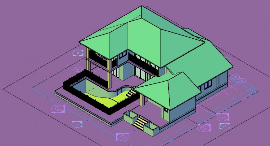 Duplex villa 3d model with pool detail in dwg AutoCAD file.