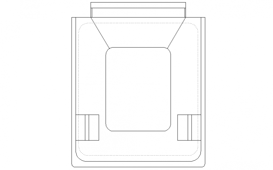 Dustbin top view elevation block dwg file