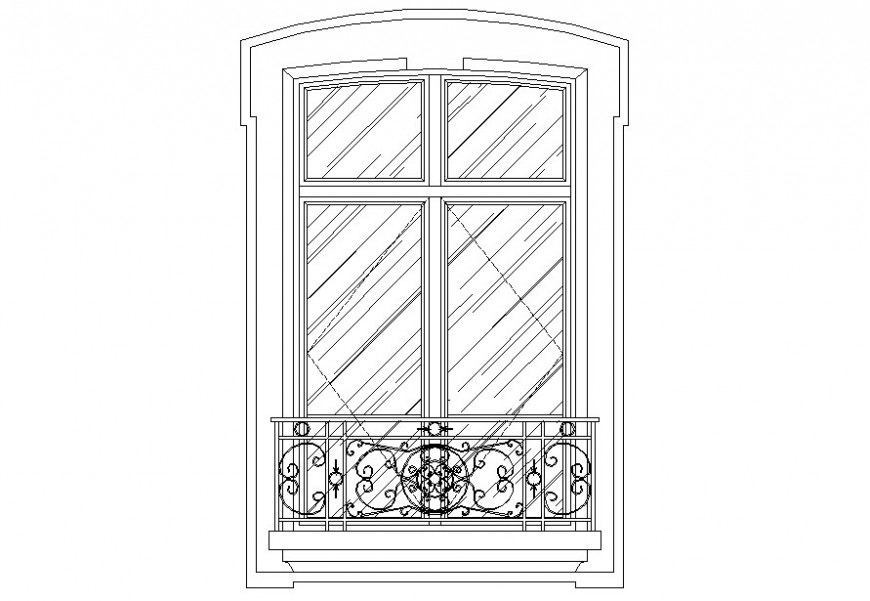 DWG file of glass shutters window