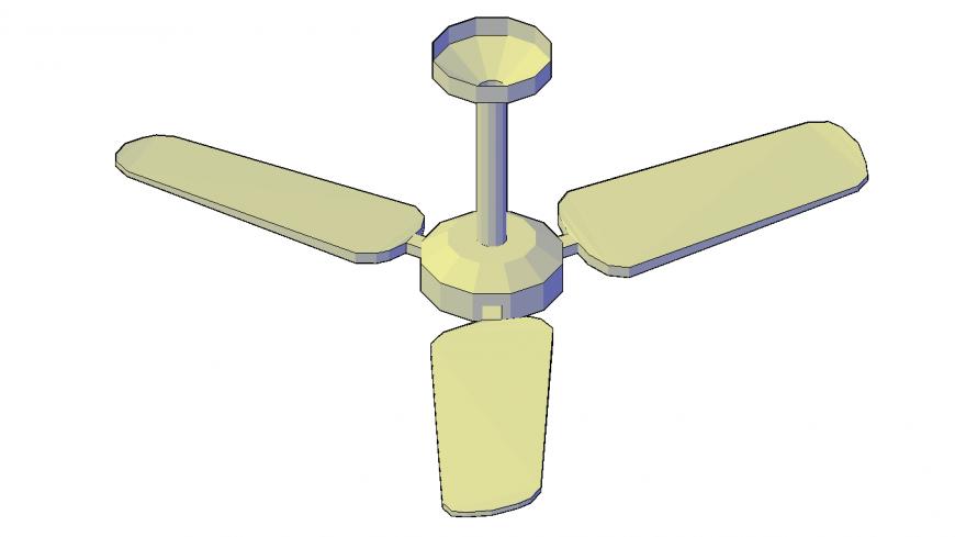 Dynamic 3d ceiling fan block cad drawing details dwg file