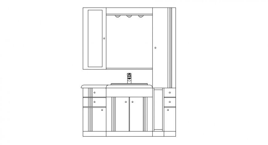 Dynamic bathroom cabinet elevation cad drawing details dwg file