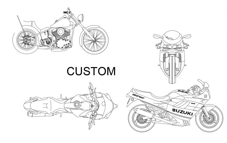 Dynamic bike and sports bike elevation blocks cad drawing details dwg file