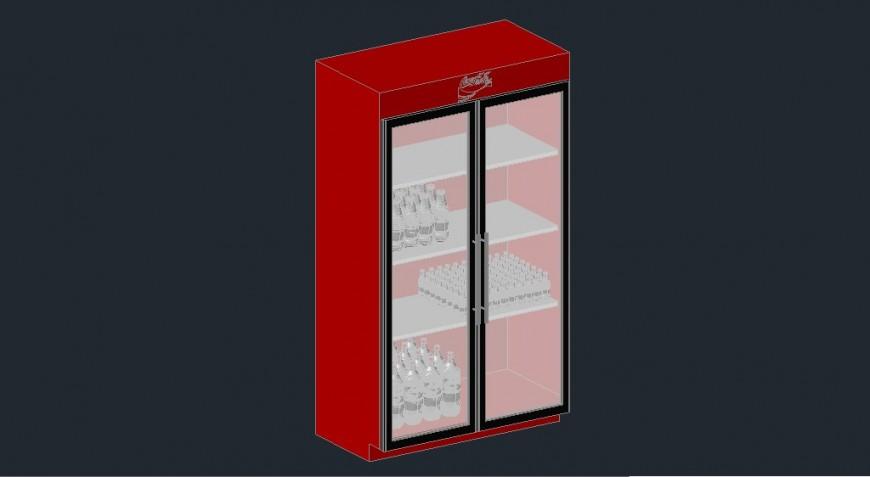 Dynamic coca-cola fridge 3d model cad drawing details dwg file