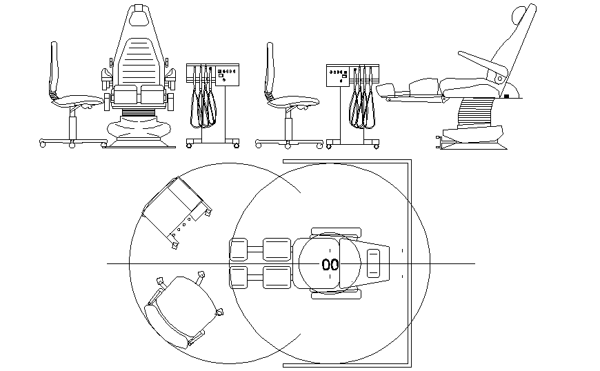 Dynamic dentist chair block cad drawing details dwg file