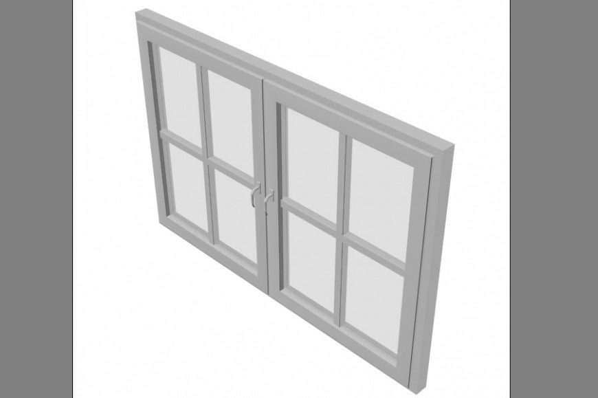 Dynamic double glazed window 3d block cad drawing details max file