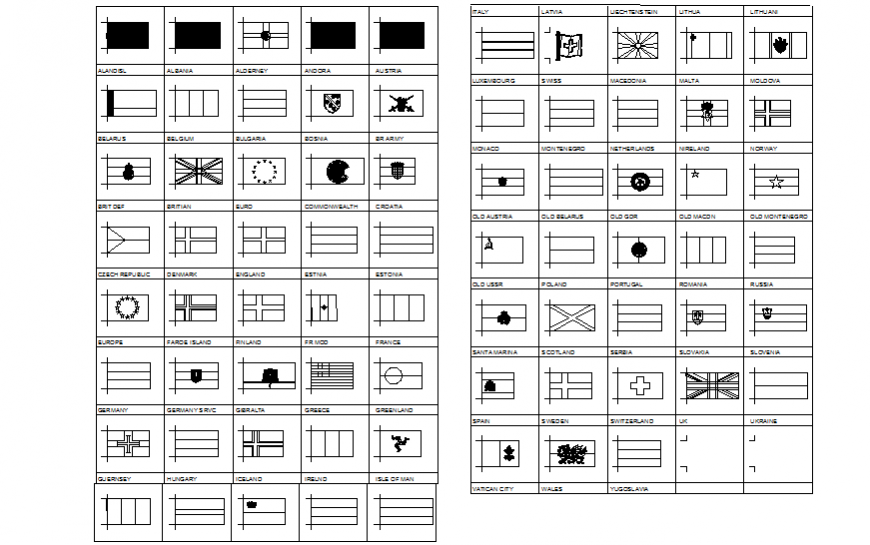 Dynamic European flags blocks cad drawing details dwg file