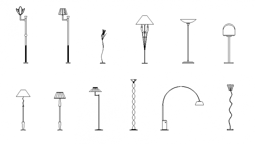 Dynamic floor lamps blocks cad drawing details dwg file