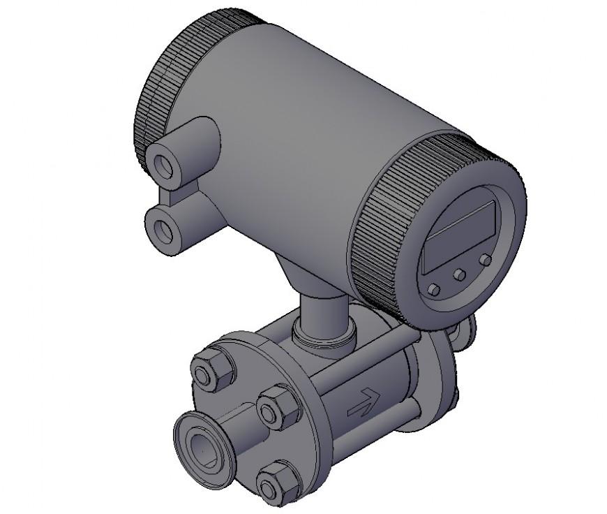 Dynamic flow-meter 3d elevation block drawing details dwg file