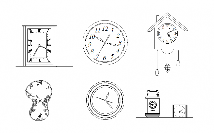Dynamic house wall clocks blocks cad drawing details dwg file