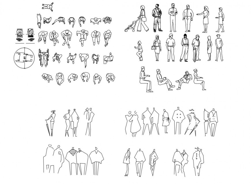 Dynamic miscellaneous people act blocks cad drawing details dwg file
