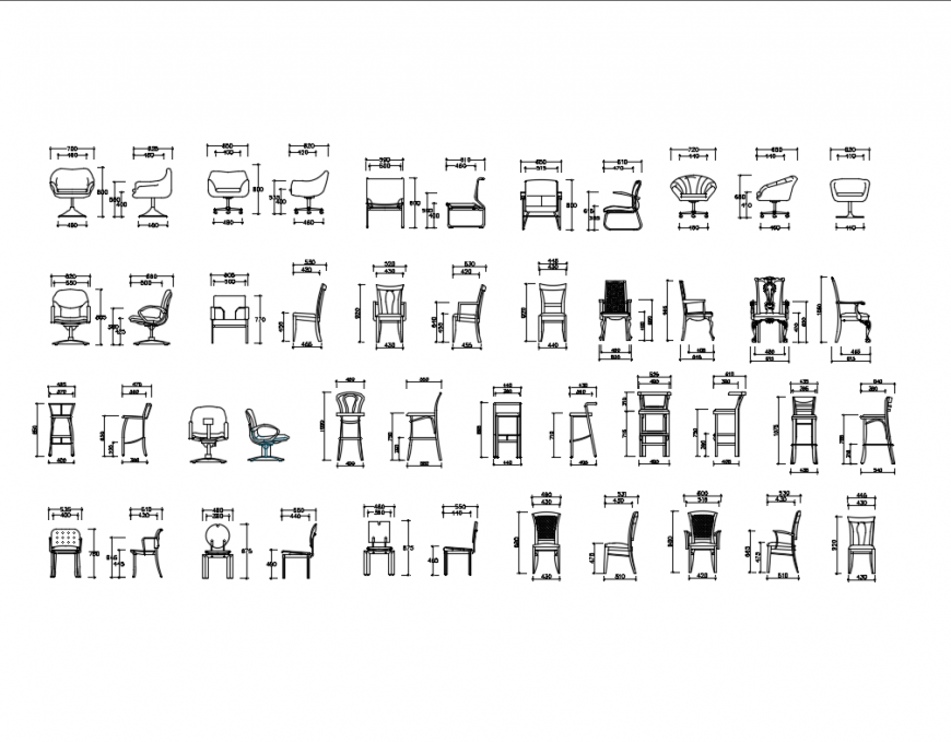 Dynamic multiple chairs elevation cad blocks details dwg file