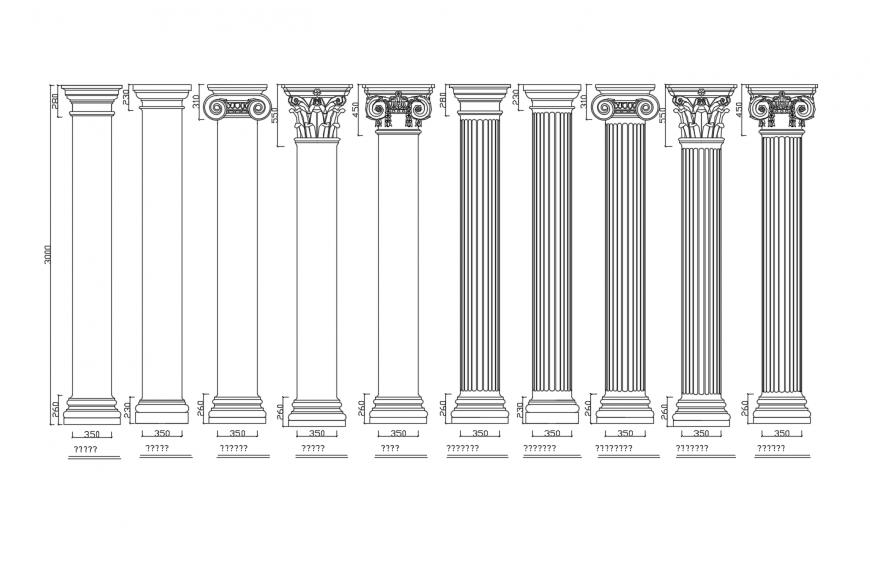 Dynamic multiple European column blocks cad drawing details dwg file
