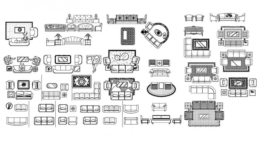 Dynamic multiple sofa sets elevation blocks cad drawing details dwg file