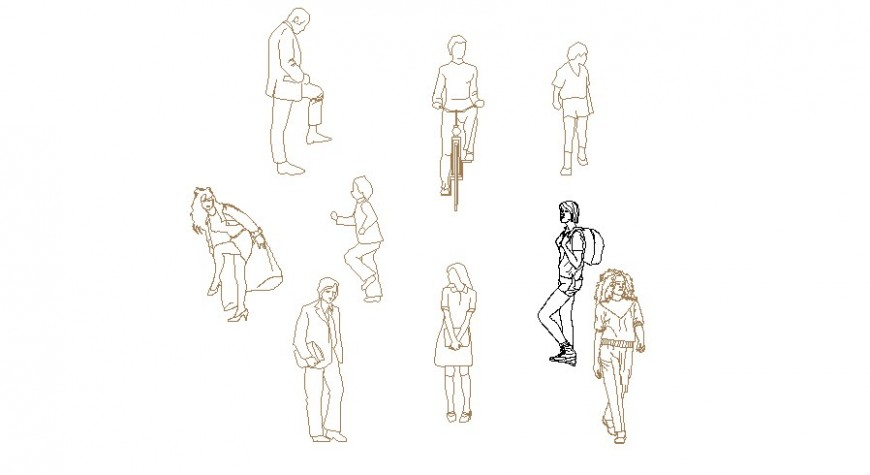 Dynamic people act figure blocks cad drawing details dwg file