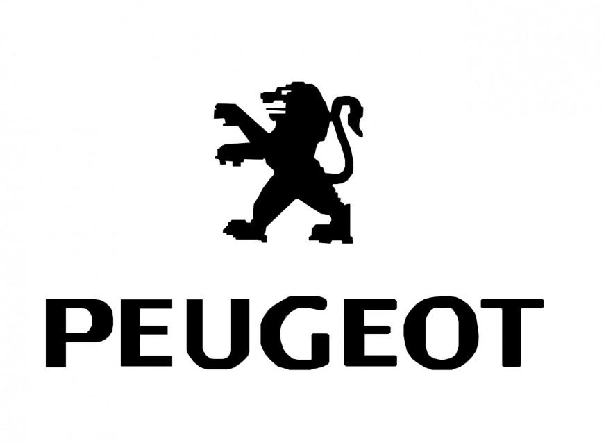 Dynamic Peugeot company logo block cad drawing details dwg file