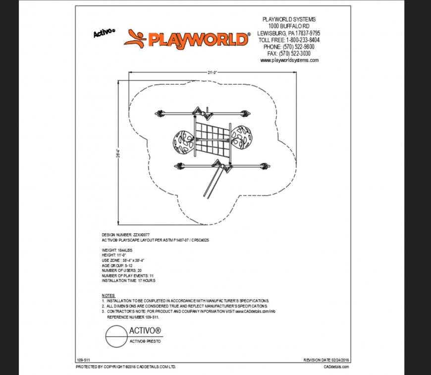 Dynamic presto kinder garden play equipment details dwg file