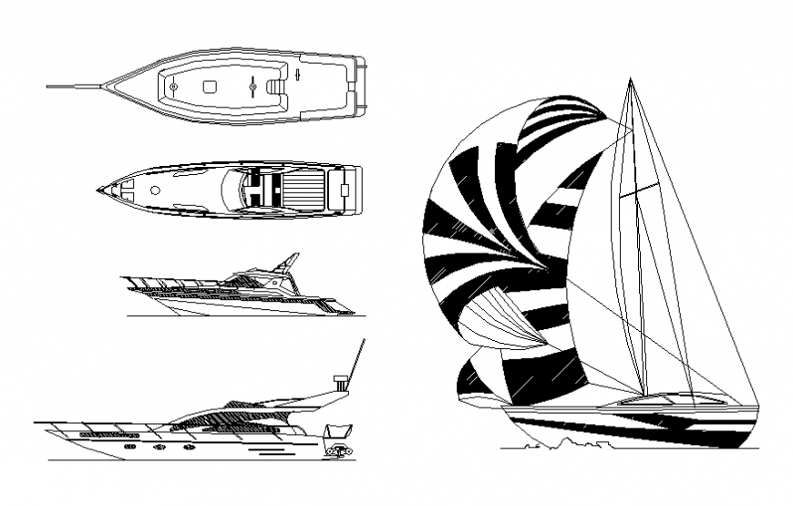 Dynamic sailing boat and yatch blocks cad drawing details dwg file