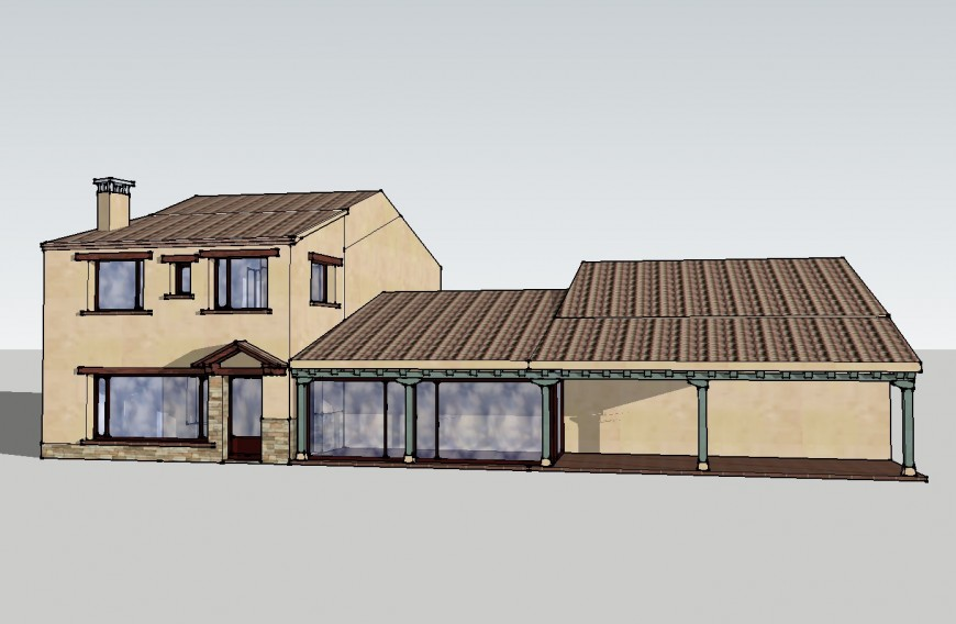 Dynamic single family residential bungalow 3d drawing details skp file