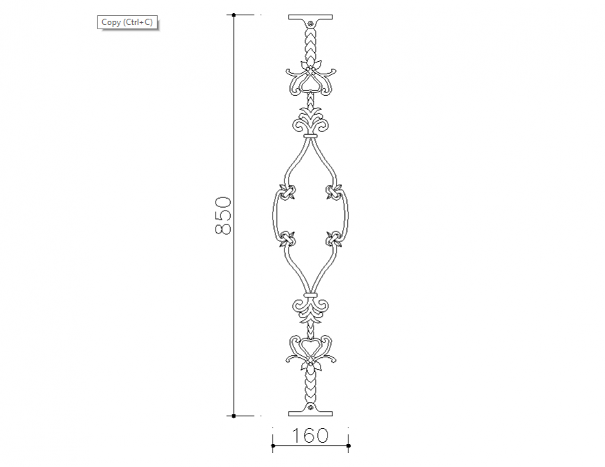 Dynamic single railing block cad drawing details dwg file
