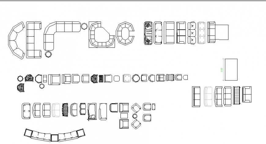 Dynamic sofa set blocks cad drawing details dwg file
