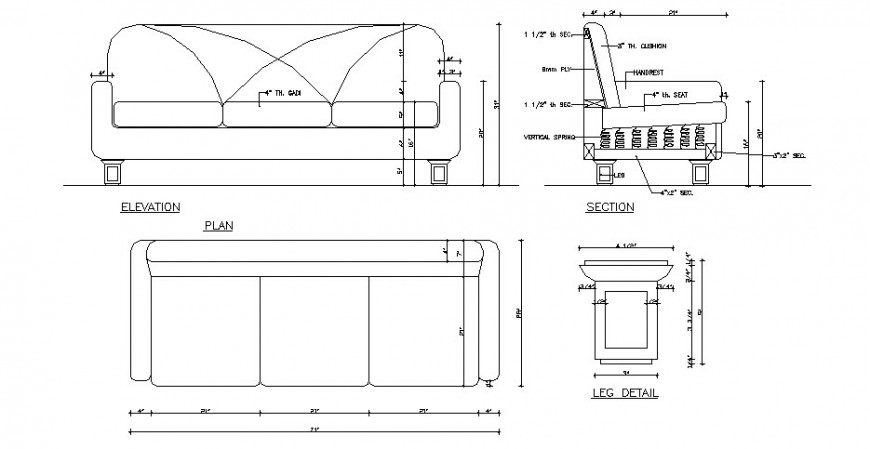Dynamic sofa set elevation, section, plan and leg cad drawing details dwg file