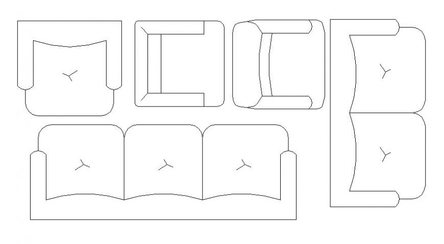 Dynamic sofa set elevation blocks cad drawing details dwg file