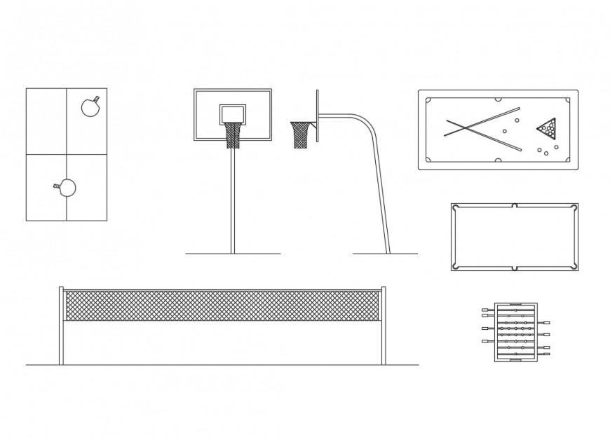 Dynamic sports equipment blocks cad drawing details dwg file