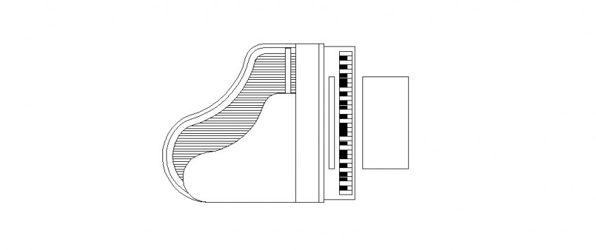 Dynamic top view elevation details of piano table dwg file