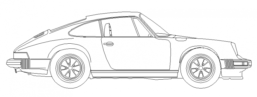 Dynamic two seated car side elevation cad block details dwg file
