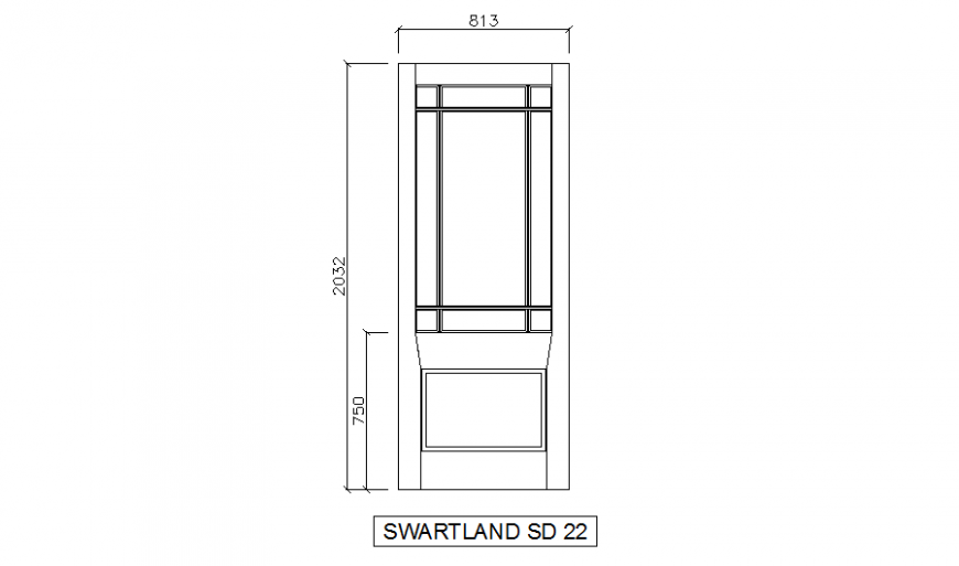 Dynamic wooden door front elevation cad block details dwg file